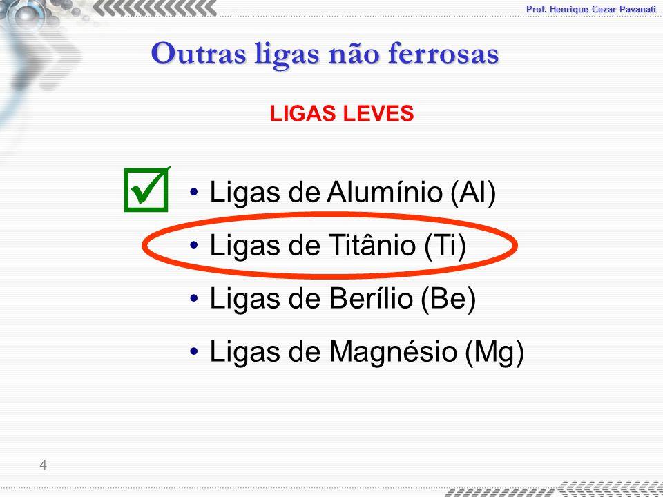 Prof. Henrique Cezar Pavanati Outras ligas não ferrosas 4 LIGAS LEVES Ligas de Alumínio (Al) Ligas de Titânio (Ti) Ligas de Berílio (Be) Ligas de Magn