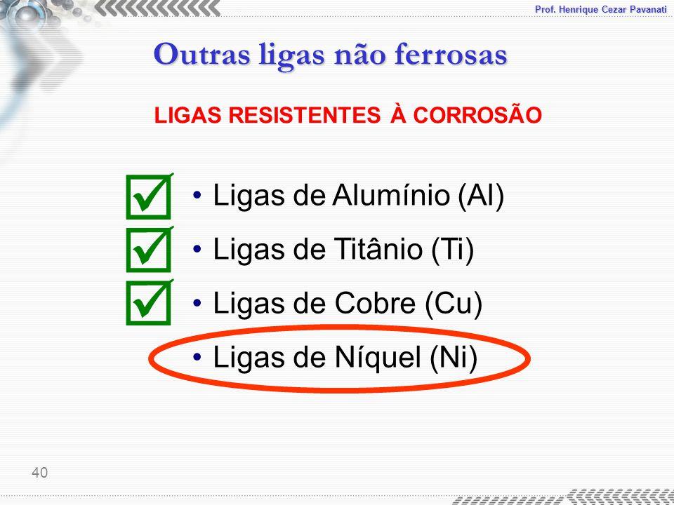 Prof. Henrique Cezar Pavanati Outras ligas não ferrosas 40 LIGAS RESISTENTES À CORROSÃO Ligas de Alumínio (Al) Ligas de Titânio (Ti) Ligas de Cobre (C