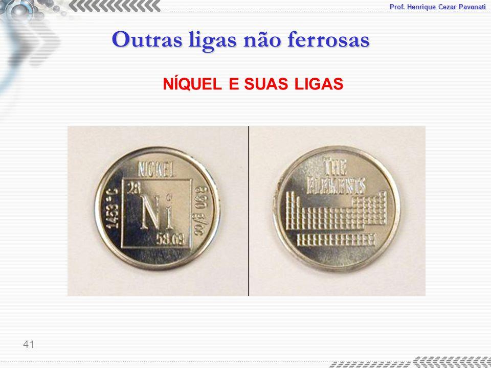 Prof. Henrique Cezar Pavanati Outras ligas não ferrosas 41 NÍQUEL E SUAS LIGAS