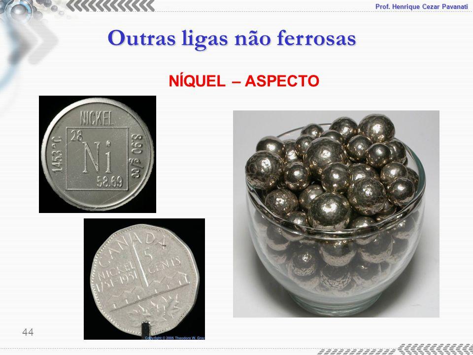 Prof. Henrique Cezar Pavanati Outras ligas não ferrosas 44 NÍQUEL – ASPECTO