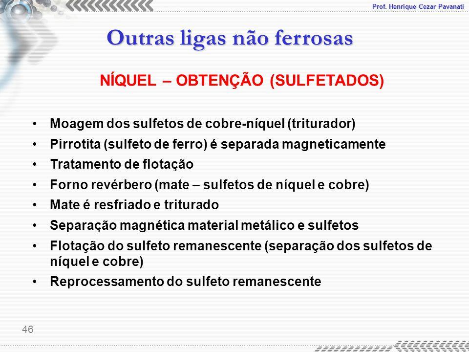 Prof. Henrique Cezar Pavanati Outras ligas não ferrosas 46 NÍQUEL – OBTENÇÃO (SULFETADOS) Moagem dos sulfetos de cobre-níquel (triturador) Pirrotita (
