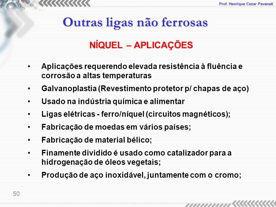 Prof. Henrique Cezar Pavanati Outras ligas não ferrosas 50 Aplicações requerendo elevada resistência à fluência e corrosão a altas temperaturas Galvan