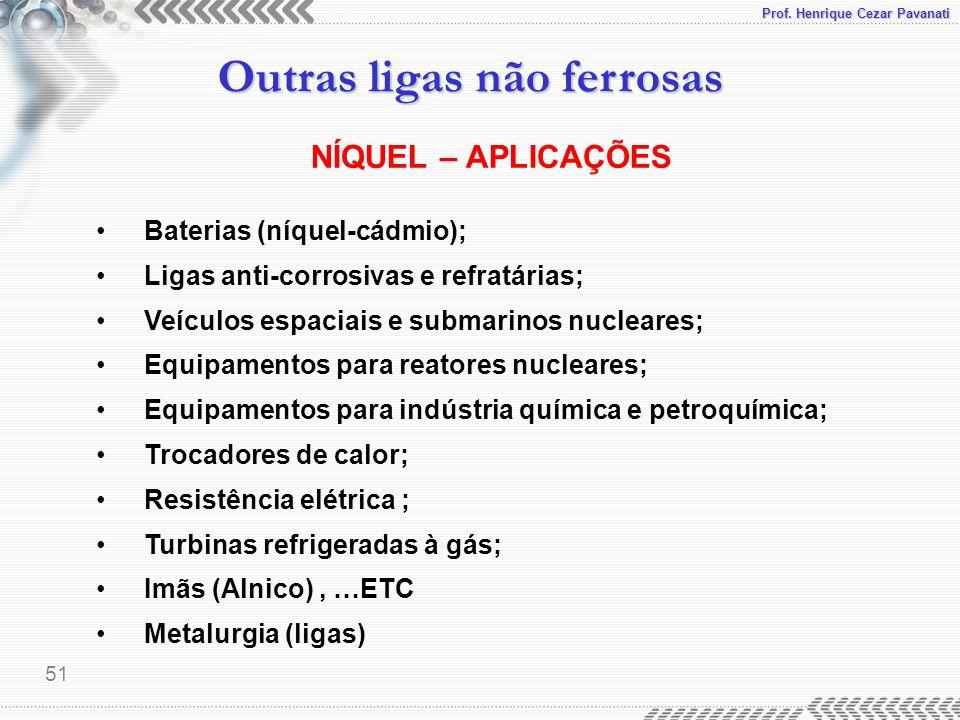 Prof. Henrique Cezar Pavanati Outras ligas não ferrosas 51 Baterias (níquel-cádmio); Ligas anti-corrosivas e refratárias; Veículos espaciais e submari