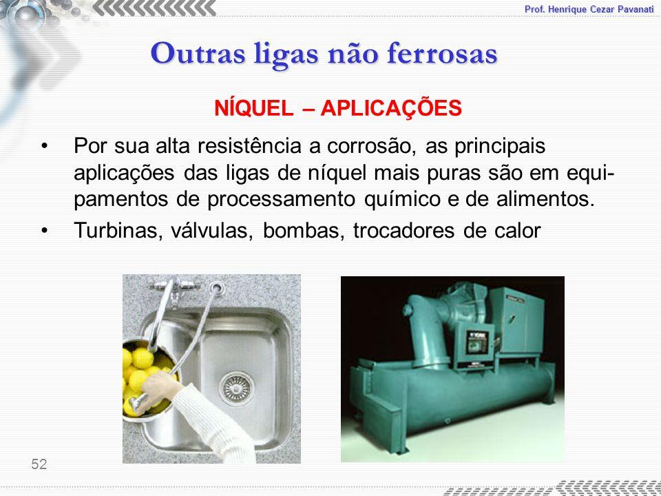 Prof. Henrique Cezar Pavanati Outras ligas não ferrosas 52 Por sua alta resistência a corrosão, as principais aplicações das ligas de níquel mais pura