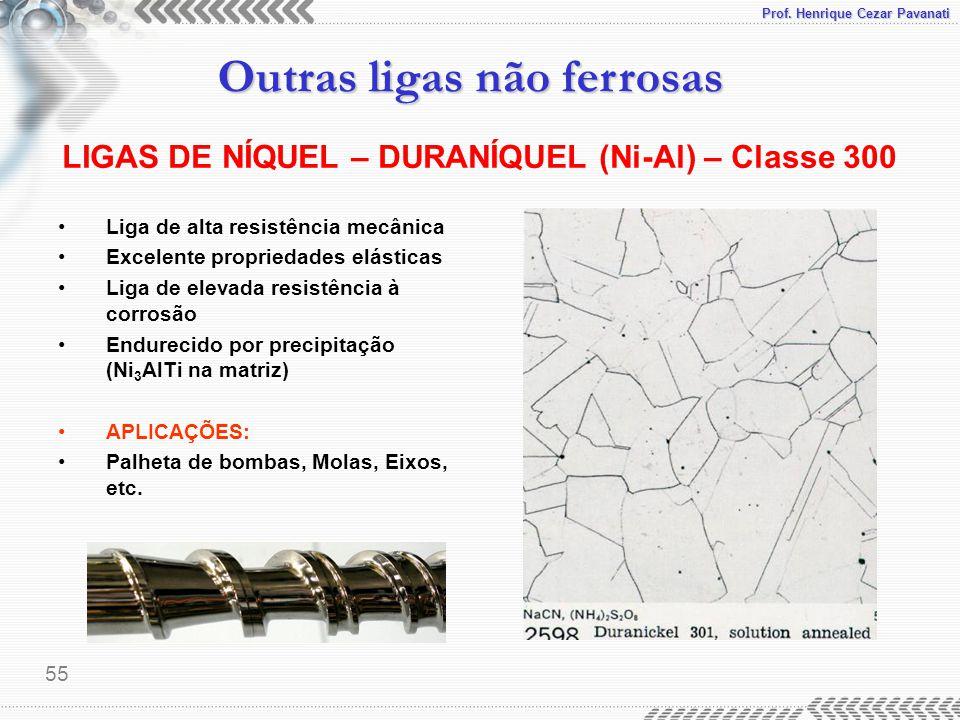 Prof. Henrique Cezar Pavanati Outras ligas não ferrosas 55 Liga de alta resistência mecânica Excelente propriedades elásticas Liga de elevada resistên