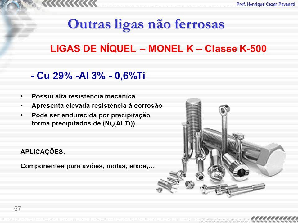 Prof. Henrique Cezar Pavanati Outras ligas não ferrosas 57 - Cu 29% -Al 3% - 0,6%Ti Possui alta resistência mecânica Apresenta elevada resistência à c