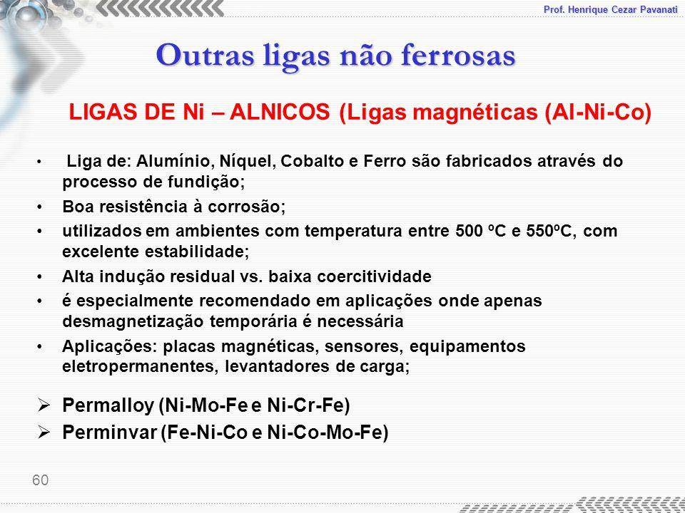 Prof. Henrique Cezar Pavanati Outras ligas não ferrosas 60 Liga de: Alumínio, Níquel, Cobalto e Ferro são fabricados através do processo de fundição;