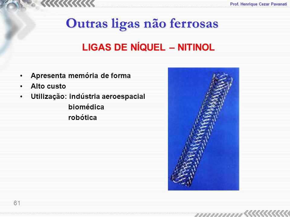 Prof. Henrique Cezar Pavanati Outras ligas não ferrosas 61 LIGAS DE NÍQUEL – NITINOL Apresenta memória de forma Alto custo Utilização: indústria aeroe