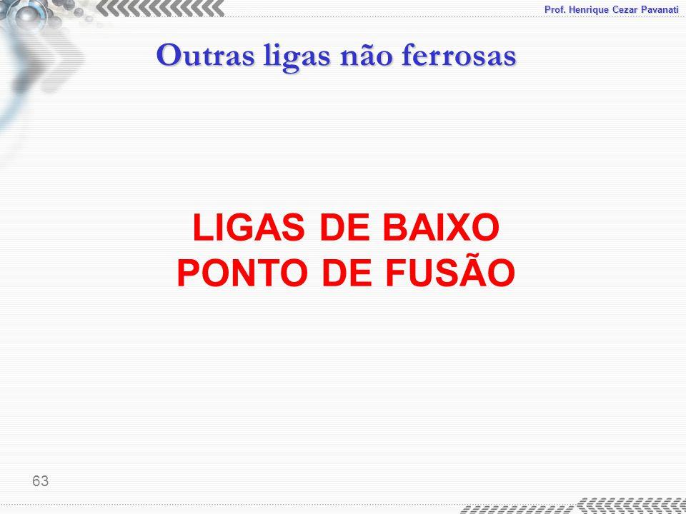 Prof. Henrique Cezar Pavanati Outras ligas não ferrosas 63 LIGAS DE BAIXO PONTO DE FUSÃO