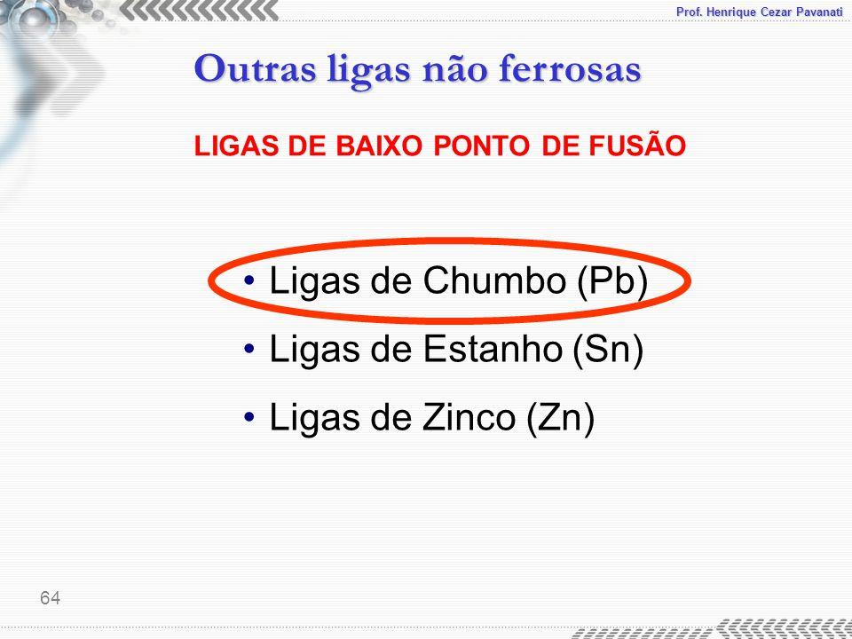 Prof. Henrique Cezar Pavanati Outras ligas não ferrosas 64 LIGAS DE BAIXO PONTO DE FUSÃO Ligas de Chumbo (Pb) Ligas de Estanho (Sn) Ligas de Zinco (Zn