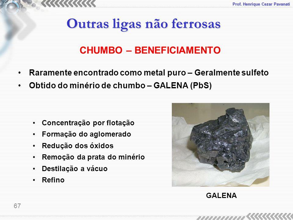 Prof. Henrique Cezar Pavanati Outras ligas não ferrosas 67 CHUMBO – BENEFICIAMENTO Raramente encontrado como metal puro – Geralmente sulfeto Obtido do