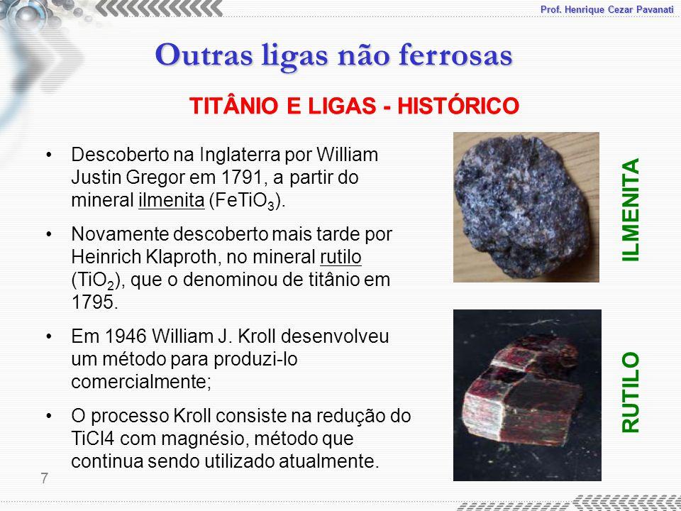 Prof. Henrique Cezar Pavanati Outras ligas não ferrosas 7 TITÂNIO E LIGAS - HISTÓRICO Descoberto na Inglaterra por William Justin Gregor em 1791, a pa