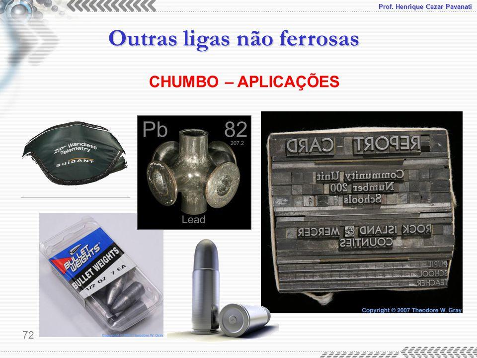 Prof. Henrique Cezar Pavanati Outras ligas não ferrosas 72 CHUMBO – APLICAÇÕES