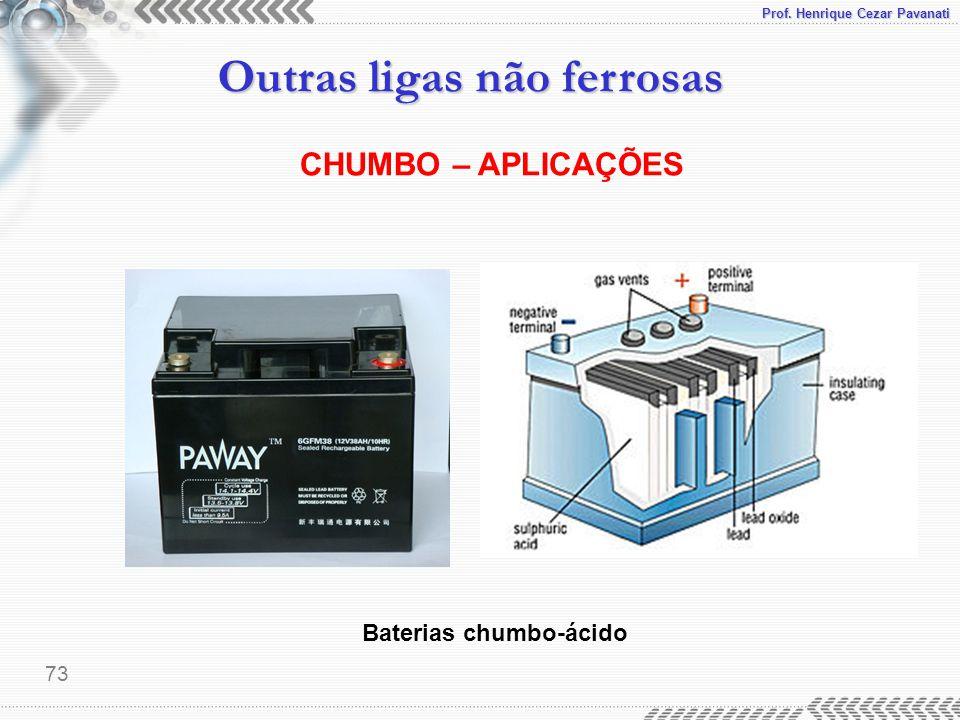 Prof. Henrique Cezar Pavanati Outras ligas não ferrosas 73 CHUMBO – APLICAÇÕES Baterias chumbo-ácido