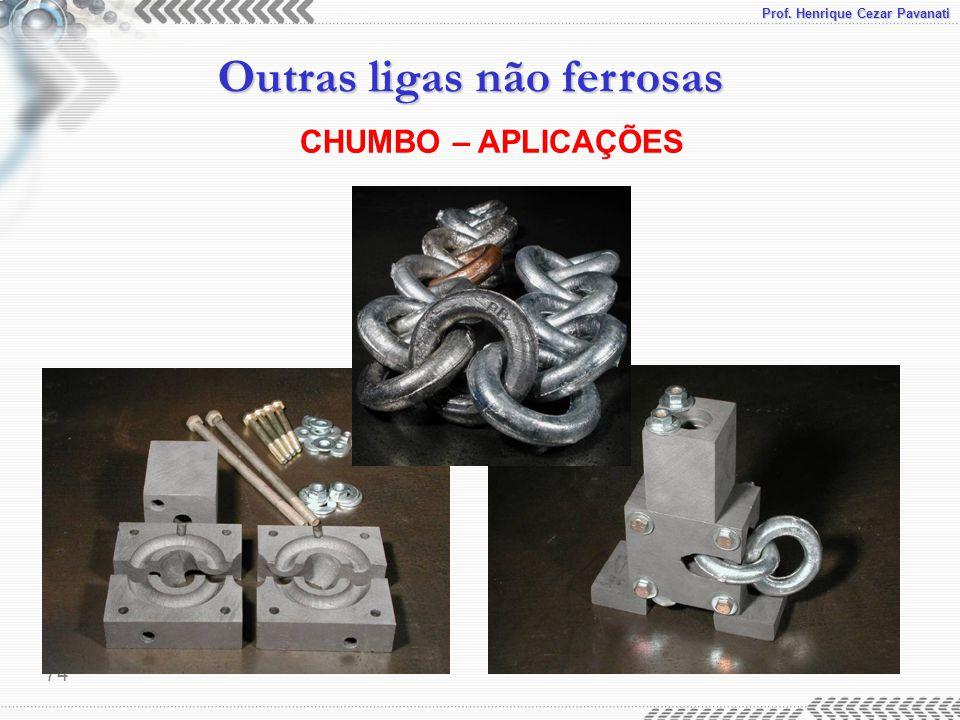 Prof. Henrique Cezar Pavanati Outras ligas não ferrosas 74 CHUMBO – APLICAÇÕES
