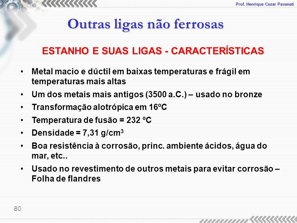 Prof. Henrique Cezar Pavanati Outras ligas não ferrosas 80 ESTANHO E SUAS LIGAS - CARACTERÍSTICAS Metal macio e dúctil em baixas temperaturas e frágil