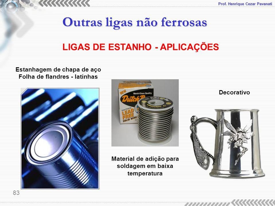 Prof. Henrique Cezar Pavanati Outras ligas não ferrosas 83 LIGAS DE ESTANHO - APLICAÇÕES Material de adição para soldagem em baixa temperatura Estanha