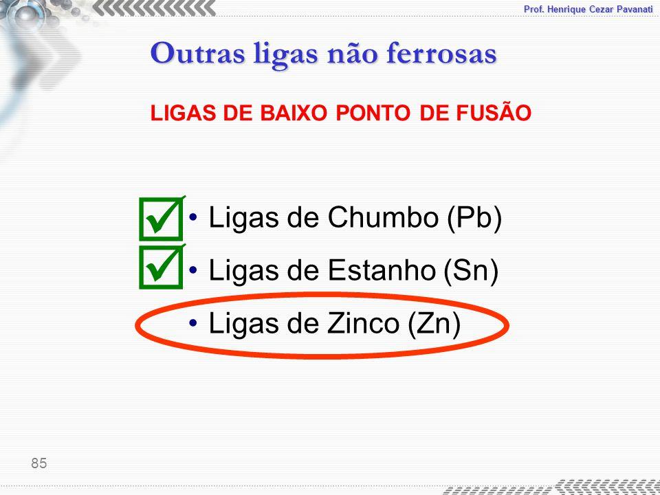 Prof. Henrique Cezar Pavanati Outras ligas não ferrosas 85 LIGAS DE BAIXO PONTO DE FUSÃO Ligas de Chumbo (Pb) Ligas de Estanho (Sn) Ligas de Zinco (Zn