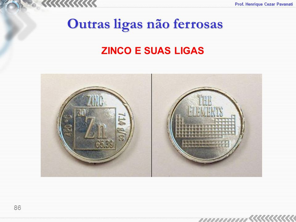 Prof. Henrique Cezar Pavanati Outras ligas não ferrosas 86 ZINCO E SUAS LIGAS
