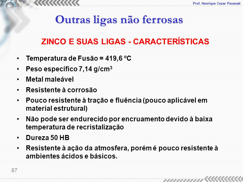 Prof. Henrique Cezar Pavanati Outras ligas não ferrosas 87 ZINCO E SUAS LIGAS - CARACTERÍSTICAS Temperatura de Fusão = 419,6 ºC Peso específico 7,14 g