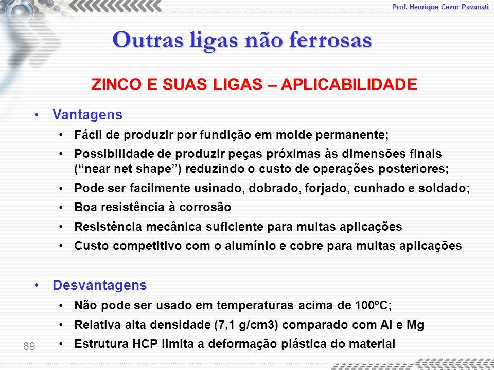 Prof. Henrique Cezar Pavanati Outras ligas não ferrosas 89 Vantagens Fácil de produzir por fundição em molde permanente; Possibilidade de produzir peç