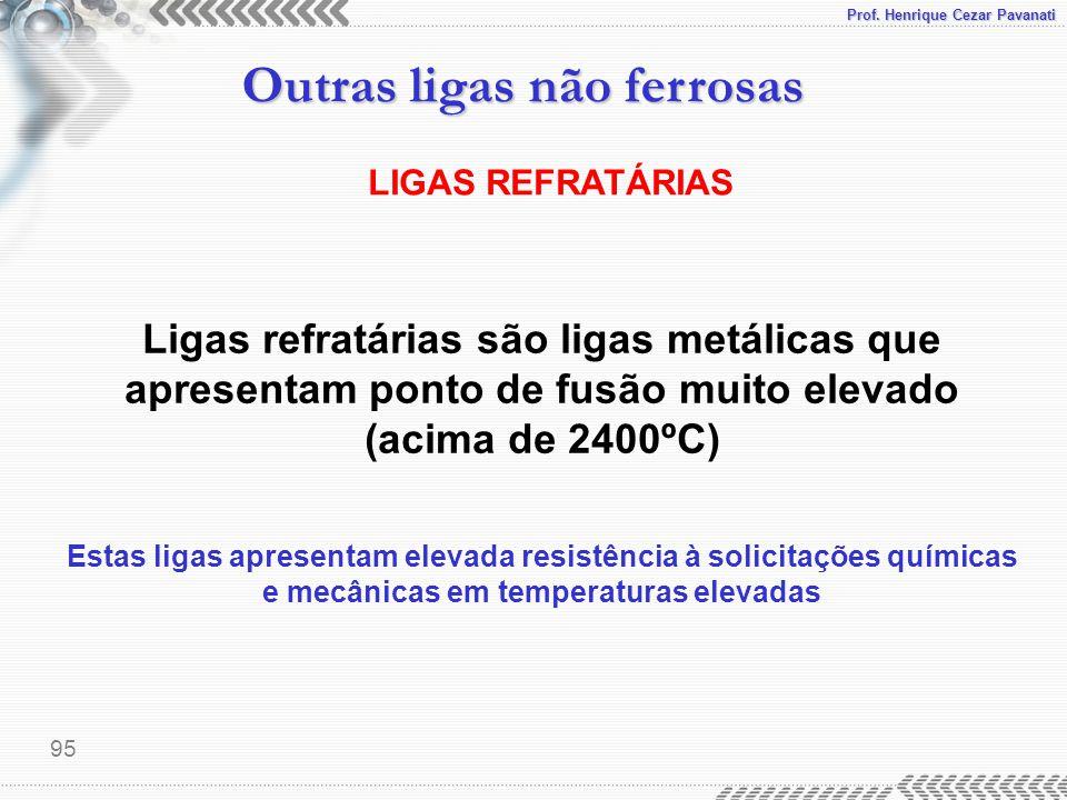 Prof. Henrique Cezar Pavanati Outras ligas não ferrosas 95 LIGAS REFRATÁRIAS Ligas refratárias são ligas metálicas que apresentam ponto de fusão muito