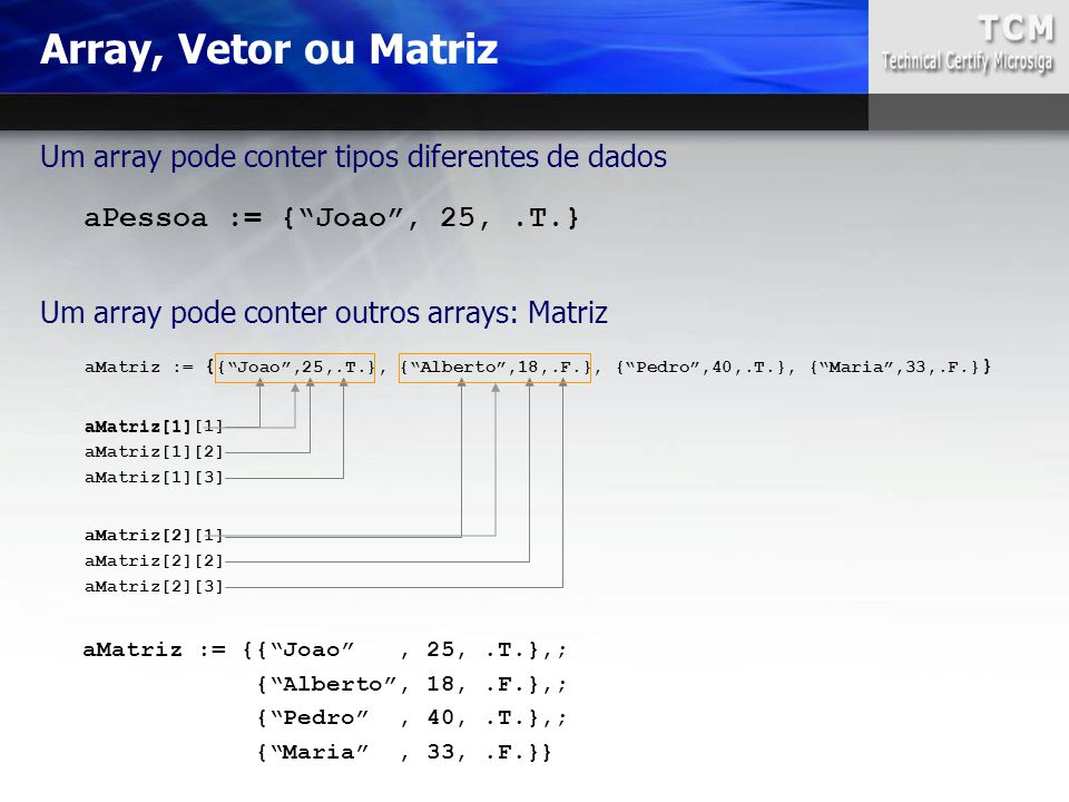 "aMatriz := { {""Joao"",25,.T.}, {""Alberto"",18,.F.}, {""Pedro"",40,.T.}, {""Maria"",33,.F.} } aMatriz := {{""Joao"", 25,.T.},; {""Alberto"", 18,.F.},; {""Pedro"","