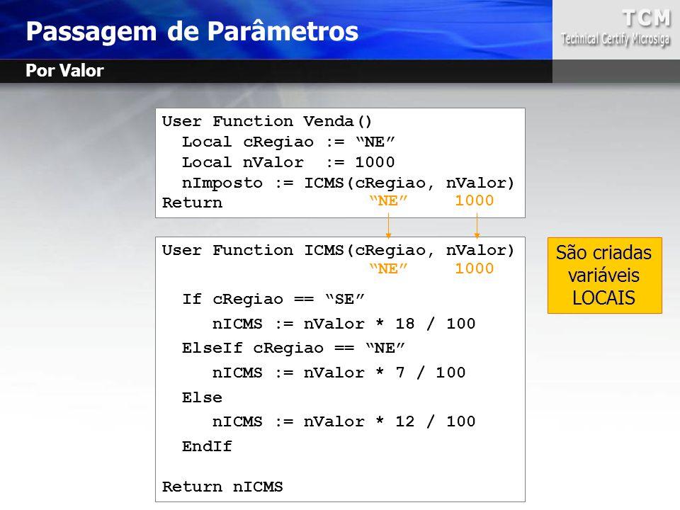 """Passagem de Parâmetros User Function Venda() Local cRegiao := """"NE"""" Local nValor := 1000 nImposto := ICMS(cRegiao, nValor) Return User Function ICMS(cR"""