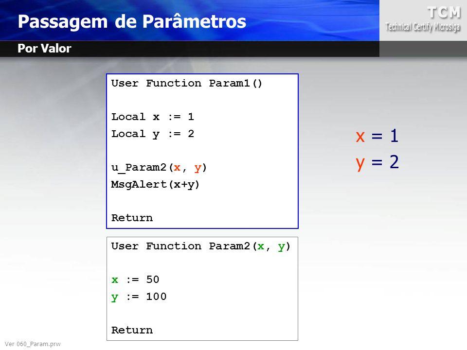 User Function Param1() Local x := 1 Local y := 2 u_Param2(x, y) MsgAlert(x+y) Return User Function Param2(x, y) x := 50 y := 100 Return x = 1 y = 2 Ve
