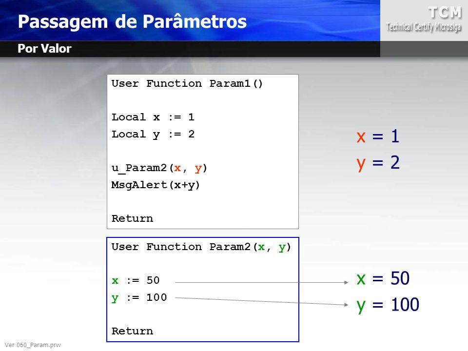 User Function Param1() Local x := 1 Local y := 2 u_Param2(x, y) MsgAlert(x+y) Return User Function Param2(x, y) x := 50 y := 100 Return x = 1 y = 2 x