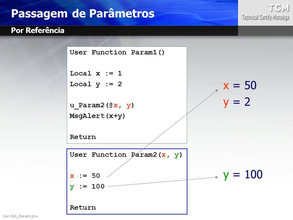 User Function Param1() Local x := 1 Local y := 2 u_Param2(@x, y) MsgAlert(x+y) Return User Function Param2(x, y) x := 50 y := 100 Return x = 50 y = 2