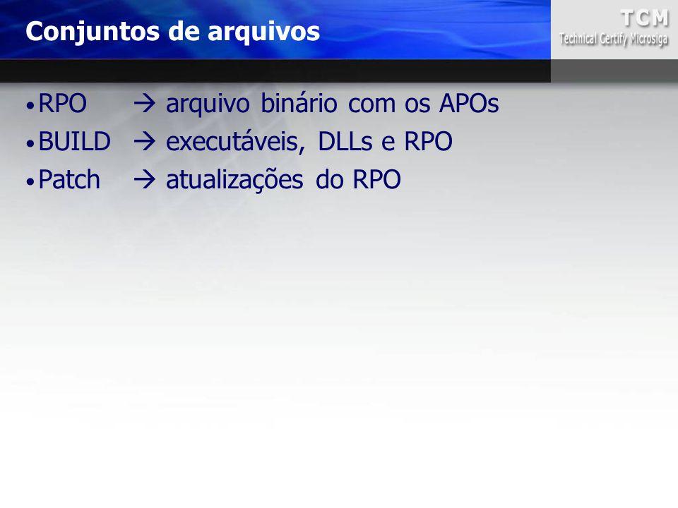 RPO  arquivo binário com os APOs BUILD  executáveis, DLLs e RPO Patch  atualizações do RPO Conjuntos de arquivos