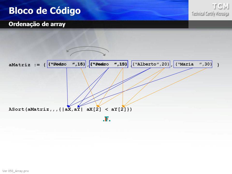 "aMatriz := {,,, } ASort(aMatriz,,,{|aX,aY| aX[2] < aY[2]}) {""Joao "",15}{""Pedro "",10} {""Joao "",15} Bloco de Código {""Alberto"",20}{""Maria "",30} {""Pedro"
