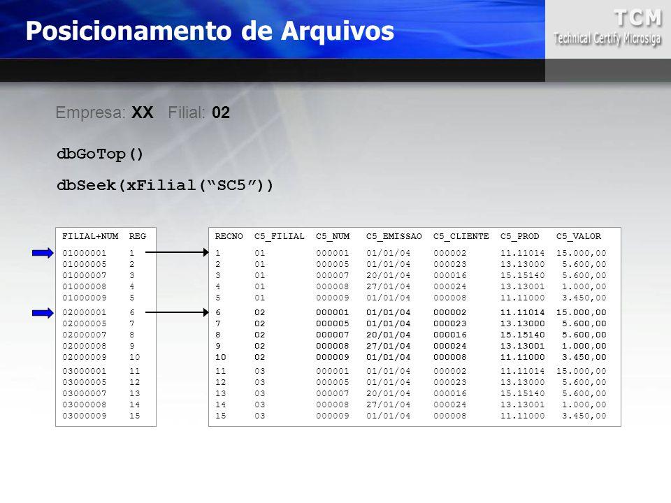 Posicionamento de Arquivos RECNO C5_FILIAL C5_NUM C5_EMISSAO C5_CLIENTE C5_PROD C5_VALOR 1 01 000001 01/01/04 000002 11.11014 15.000,00 2 01 000005 01