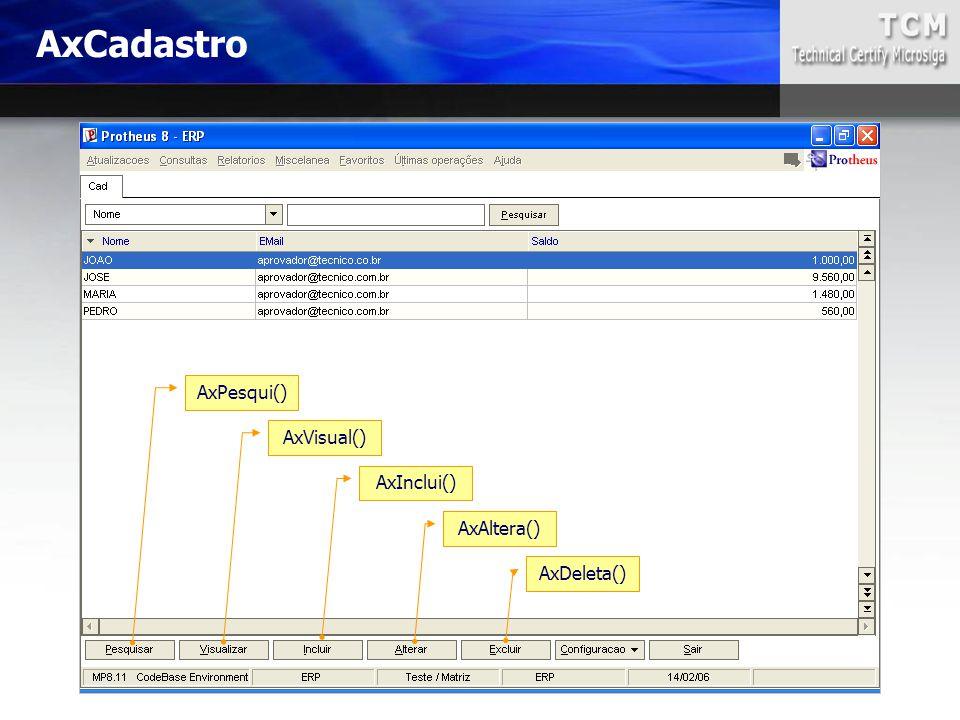 AxCadastro AxPesqui() AxVisual() AxInclui() AxAltera() AxDeleta()