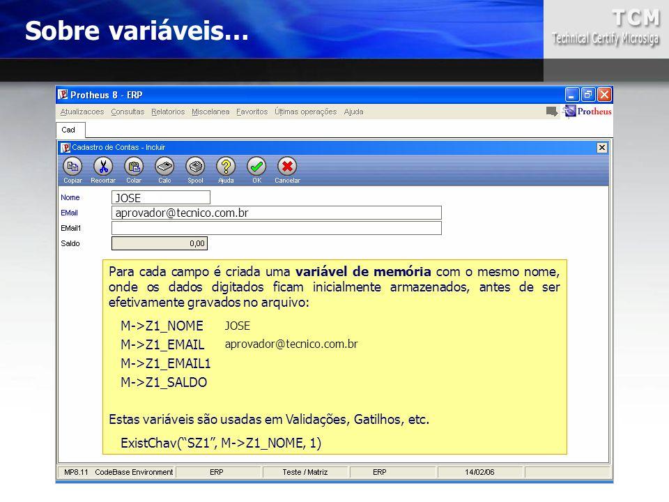Sobre variáveis… JOSE aprovador@tecnico.com.br Para cada campo é criada uma variável de memória com o mesmo nome, onde os dados digitados ficam inicia