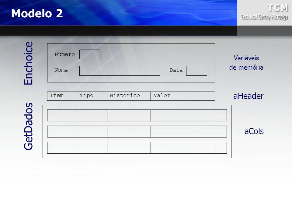 Modelo 2 ItemTipoHistóricoValor Nome Número Data Enchoice Variáveis de memória GetDados aHeader aCols