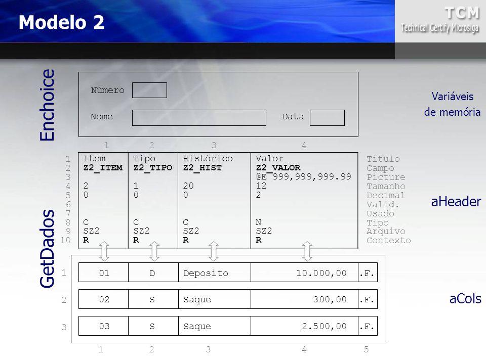 Modelo 2 Item Z2_ITEM 2 0 C SZ2 R Tipo Z2_TIPO 1 0 C SZ2 R Histórico Z2_HIST 20 0 C SZ2 R Valor Z2_VALOR @E 999,999,999.99 12 2 N SZ2 R Nome Número Da