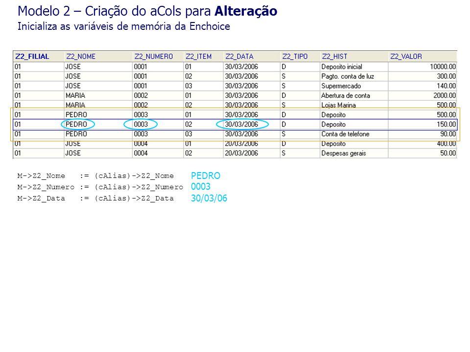 M->Z2_Nome := (cAlias)->Z2_Nome M->Z2_Numero := (cAlias)->Z2_Numero M->Z2_Data := (cAlias)->Z2_Data 0003 PEDRO 30/03/06 Modelo 2 – Criação do aCols pa