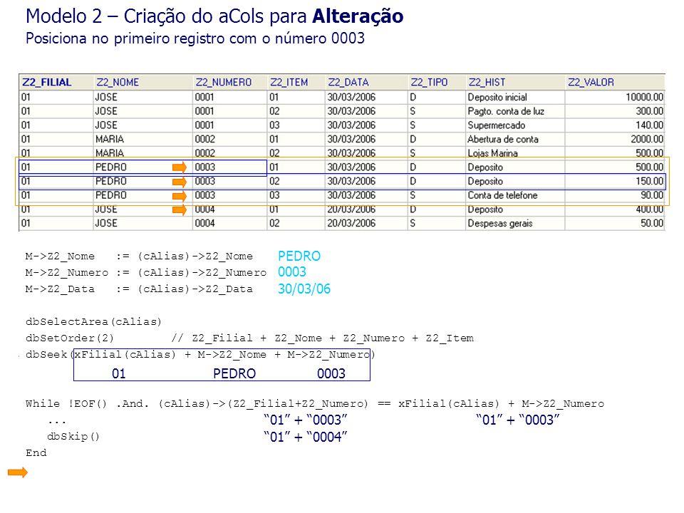 dbSelectArea(cAlias) dbSetOrder(2) // Z2_Filial + Z2_Nome + Z2_Numero + Z2_Item dbSeek(xFilial(cAlias) + M->Z2_Nome + M->Z2_Numero) While !EOF().And.