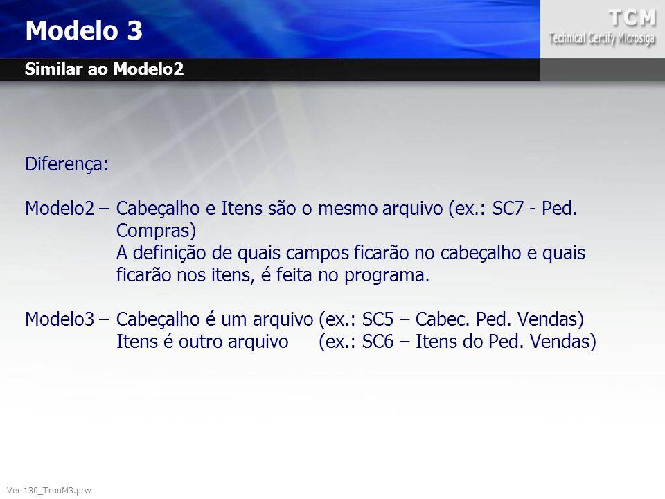 Modelo 3 Ver 130_TranM3.prw Diferença: Modelo2 –Cabeçalho e Itens são o mesmo arquivo (ex.: SC7 - Ped. Compras) A definição de quais campos ficarão no