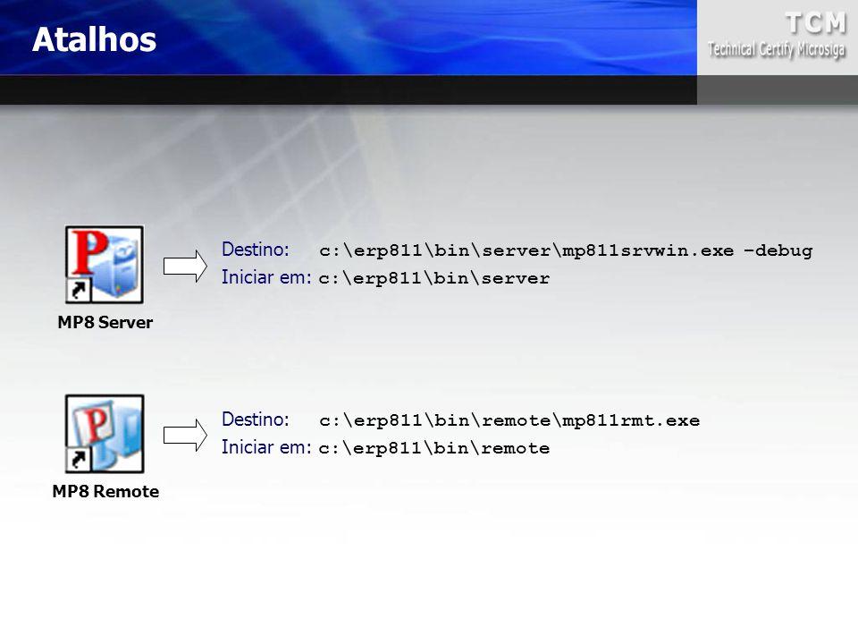 Atalhos Destino: c:\erp811\bin\server\mp811srvwin.exe –debug Iniciar em: c:\erp811\bin\server Destino: c:\erp811\bin\remote\mp811rmt.exe Iniciar em: c