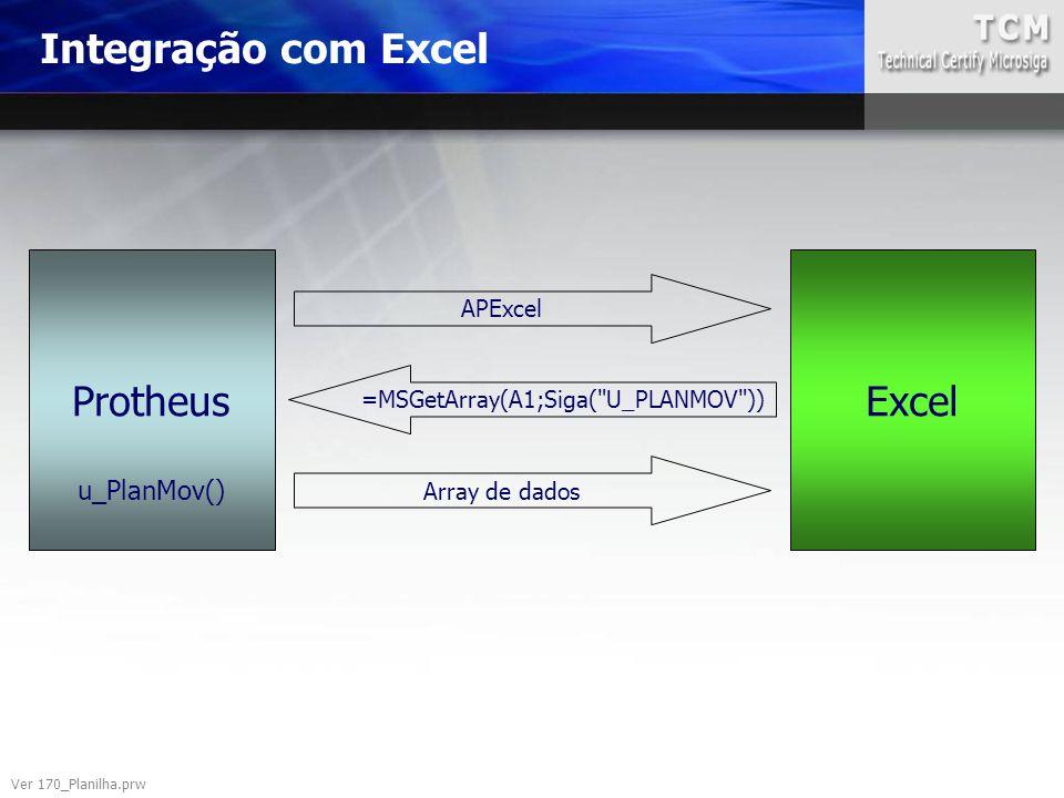 Integração com Excel Ver 170_Planilha.prw ProtheusExcel APExcel =MSGetArray(A1;Siga(