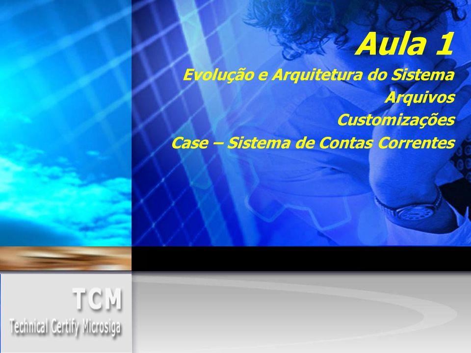 Aula 1 Evolução e Arquitetura do Sistema Arquivos Customizações Case – Sistema de Contas Correntes