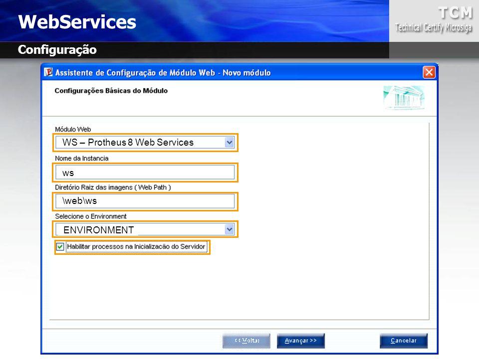 WebServices Configuração WS – Protheus 8 Web Services ws \web\ws ENVIRONMENT