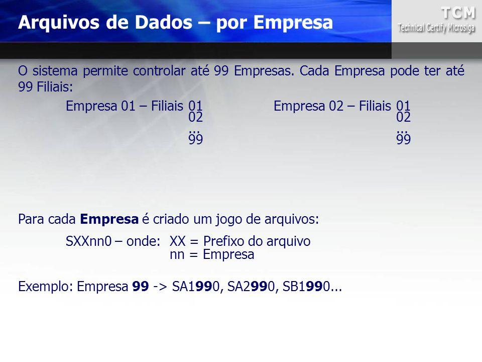 Arquivos de Dados – por Empresa O sistema permite controlar até 99 Empresas. Cada Empresa pode ter até 99 Filiais: Empresa 01 – Filiais01Empresa 02 –