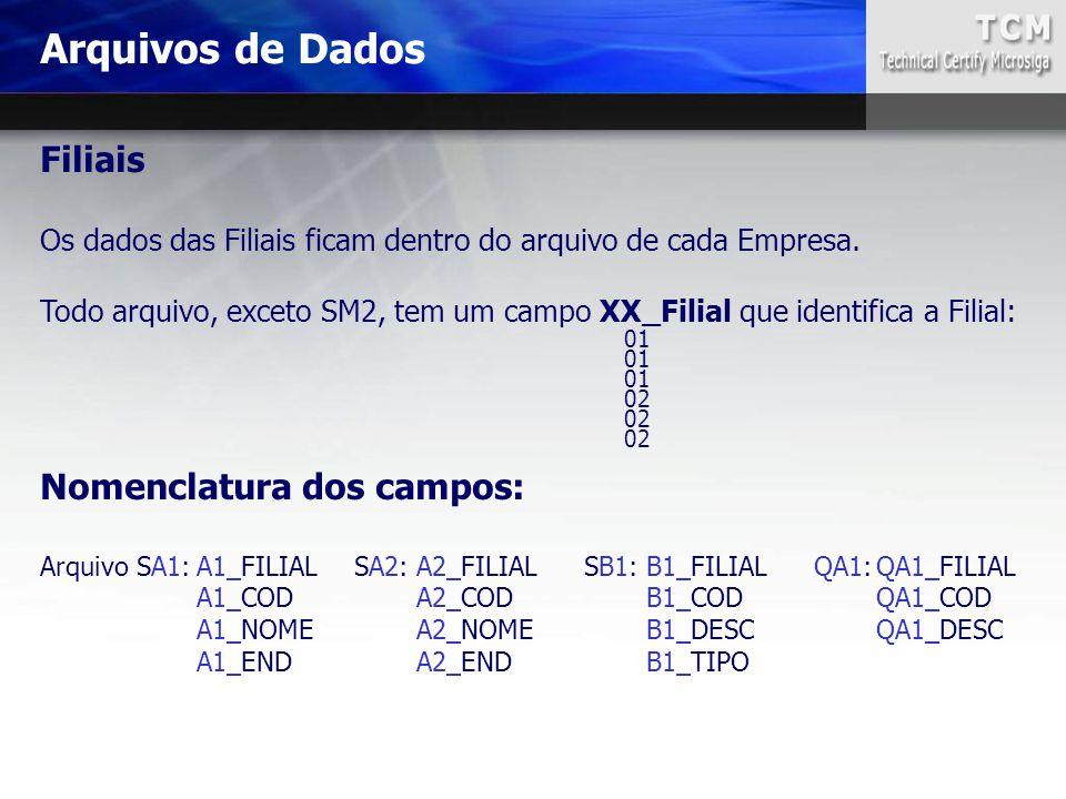 Arquivos de Dados Nomenclatura dos campos: Arquivo SA1:A1_FILIALSA2:A2_FILIALSB1:B1_FILIALQA1:QA1_FILIAL A1_CODA2_CODB1_CODQA1_COD A1_NOMEA2_NOMEB1_DE