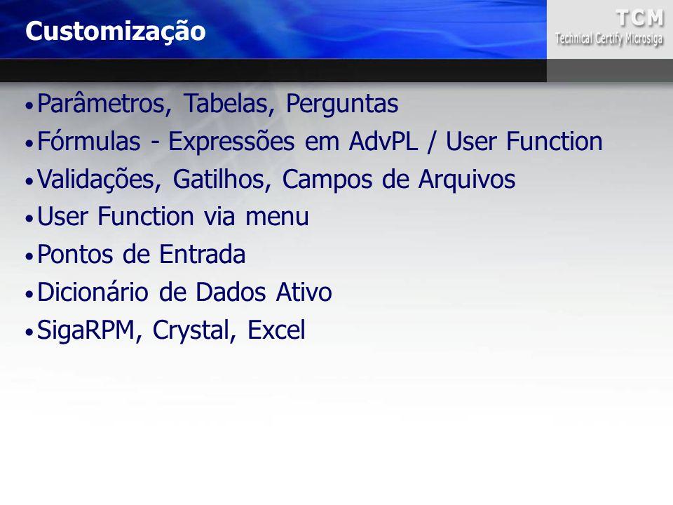 Parâmetros, Tabelas, Perguntas Fórmulas - Expressões em AdvPL / User Function Validações, Gatilhos, Campos de Arquivos User Function via menu Pontos d