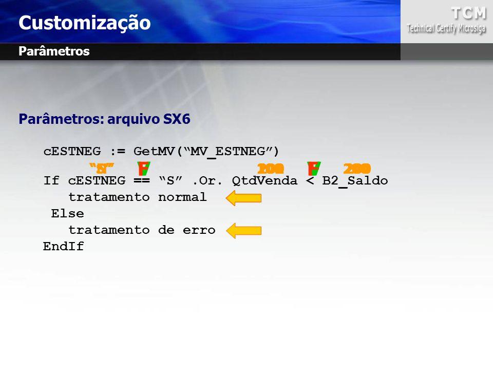 """Parâmetros: arquivo SX6 cESTNEG := GetMV(""""MV_ESTNEG"""") If cESTNEG == """"S"""".Or. QtdVenda < B2_Saldo tratamento normal Else tratamento de erro EndIf """"S"""" 10"""