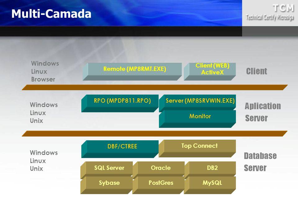 Server (MP8SRVWIN.EXE) Monitor RPO (MPDP811.RPO) Top Connect DB2OracleSQL Server MySQLPostGresSybase Client (WEB) ActiveX Remote (MP8RMT.EXE) Windows Linux Browser Windows Linux Unix Windows Linux Unix Client Aplication Server Database Server DBF/CTREE Multi-Camada